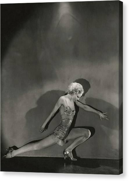 Jean Barry In Evergreen Canvas Print by George Hoyningen-Huene