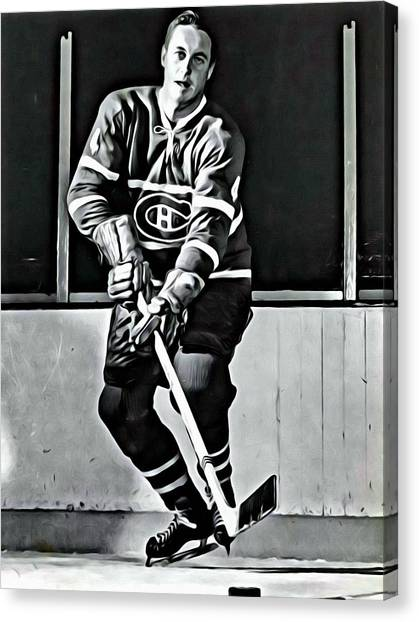 Hockey Players Canvas Print - Jean Beliveau by Florian Rodarte