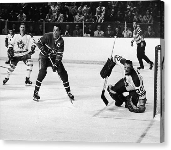 Hockey Players Canvas Print - Jean Beliveau Poster by Gianfranco Weiss