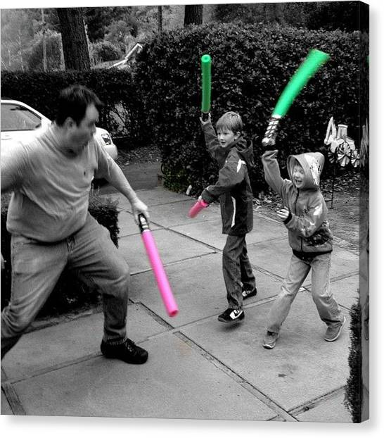 Padawan Canvas Print - #jedi Master @claylo Spars With Two by Kendra Loveless
