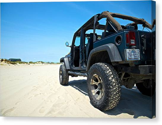 Outer Rim Canvas Print - Jeep In The Sand by Brad Hartig - BTH Photography