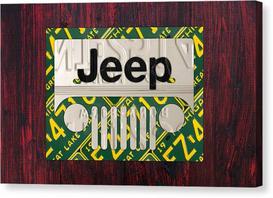 Jeep Canvas Print - Jeep Vintage Logo Recycled License Plate Art by Design Turnpike