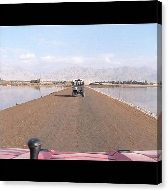 Jeep Canvas Print - #jeep #water #sky #mountains #iphone by Yasmine Davidi