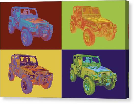 Jeep Wrangler Rubicon Pop Art Canvas Print