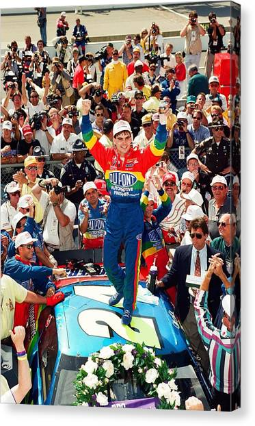 Nascar Canvas Print - Jeff Gordon At The Brickyard by Retro Images Archive