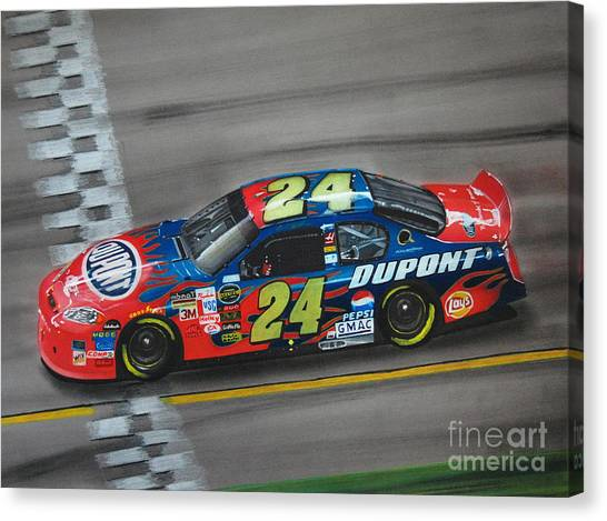 Nascar Canvas Print - Jeff Gordon Dupont Chevrolet by Paul Kuras
