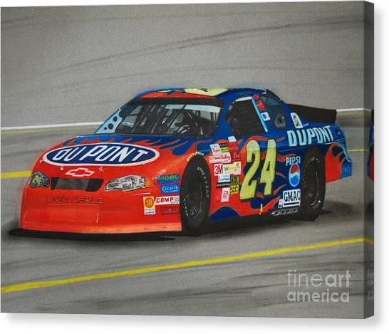 Racecar Drivers Canvas Print - Jeff Gordon Hits Pit Road by Paul Kuras