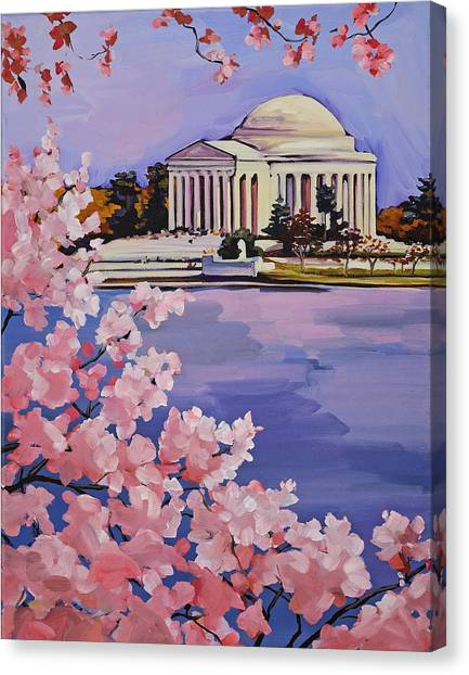 Jefferson Memorial Canvas Print - Jefferson Memorial At Cherry Blossom Time by Anne Lewis
