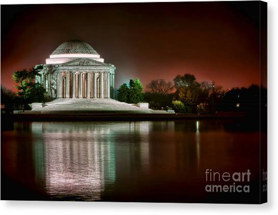 Neoclassical Art Canvas Print - Jefferson Memorial At Night by Olivier Le Queinec
