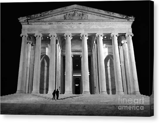 Sightseeing Canvas Print - Jefferson Monument At Night by Lane Erickson