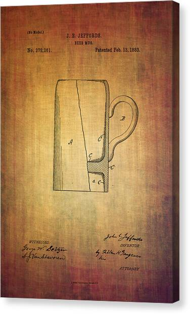 Pint Glass Canvas Print - Jeffords Beer Mug Patent From 1883 by Eti Reid