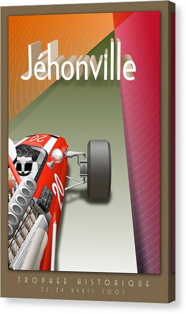 Classic Car Drawings Canvas Print - Jehonville Historic Trophy Classic Car Race by Georgia Fowler