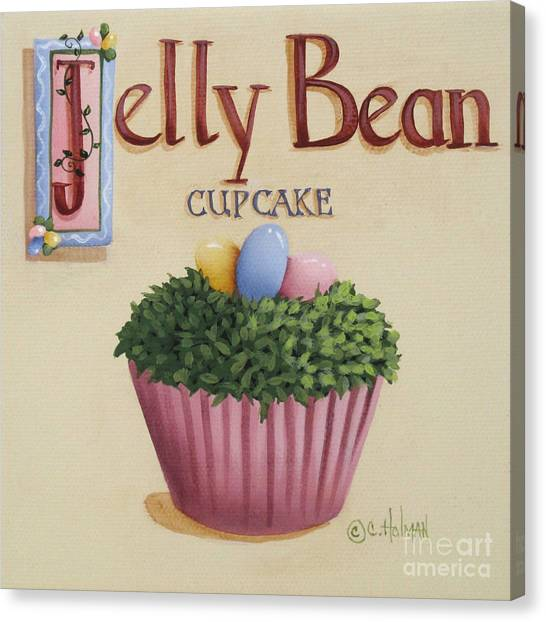Country Kitchen Decor Canvas Print - Jelly Bean Cupcake by Catherine Holman