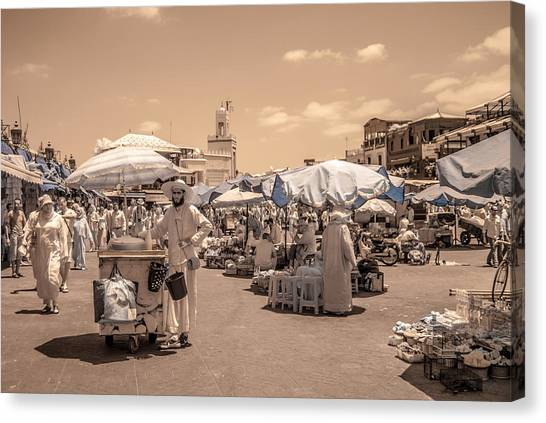 Jemaa El Fna Market In Marrakech Canvas Print