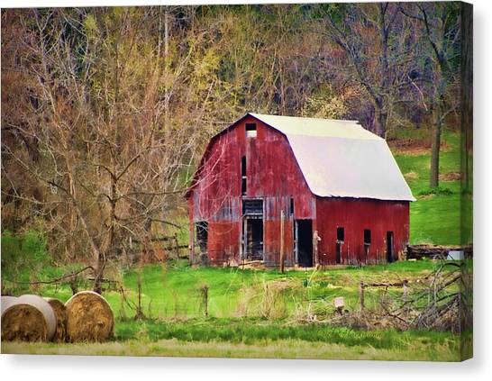Hay Bales Canvas Print - Jemerson Creek Barn by Cricket Hackmann