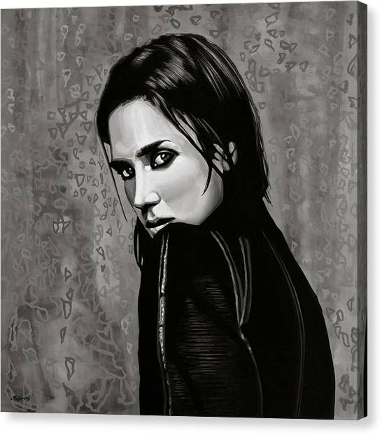 Realism Art Canvas Print - Jennifer Connelly Painting by Paul Meijering