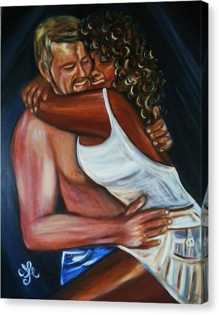 Jenny And Rene - Interracial Lovers Series Canvas Print