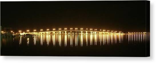 Lynda Dawson-youngclaus Canvas Print - Jensen Causeway At Night by Lynda Dawson-Youngclaus