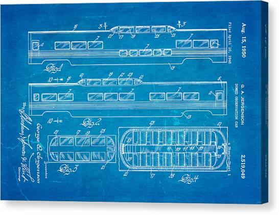 Train blueprint art fine art america train blueprint canvas print jergenson railway car patent art 1950 blueprint by ian monk malvernweather Choice Image