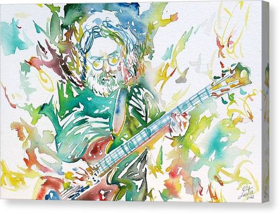 Grateful Dead Canvas Print - Jerry Garcia Playing The Guitar Watercolor Portrait.1 by Fabrizio Cassetta