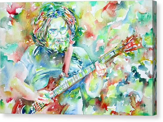 Grateful Dead Canvas Print - Jerry Garcia Playing The Guitar Watercolor Portrait.3 by Fabrizio Cassetta