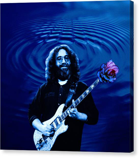 Blue Ripple Rose Canvas Print