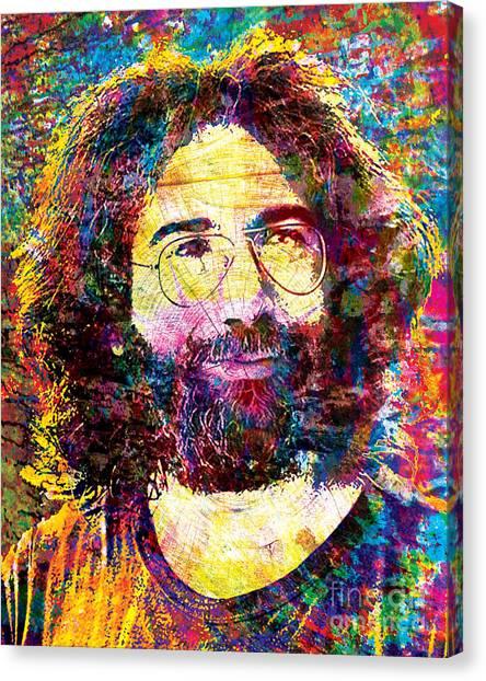 Tie-dye Canvas Print - Jerry Garcia The Grateful Dead by Ryan Rock Artist
