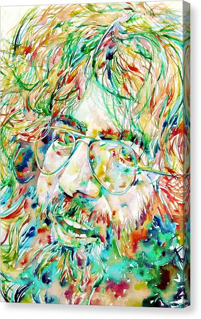Grateful Dead Canvas Print - Jerry Garcia Watercolor Portrait.1 by Fabrizio Cassetta