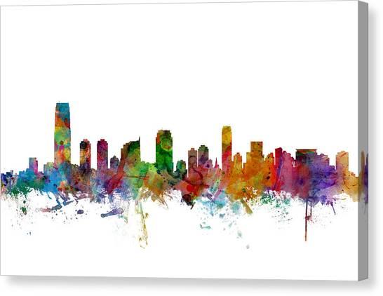 New Jersey Canvas Print - Jersey City New Jersey Skyline by Michael Tompsett