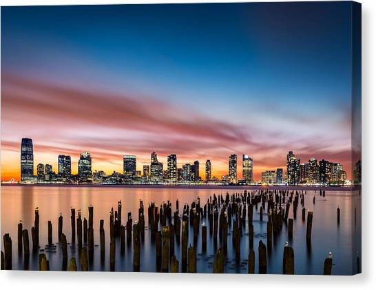 Jersey City Skyline At Sunset Canvas Print