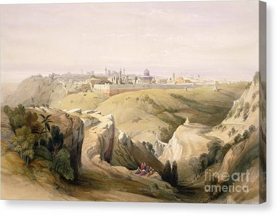 Holy Land Canvas Print - Jerusalem From The Mount Of Olives by David Roberts