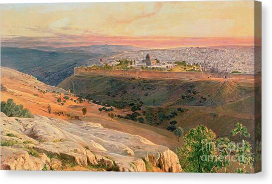 Olive Oil Canvas Print - Jerusalem From The Mount Of Olives by Edward Lear