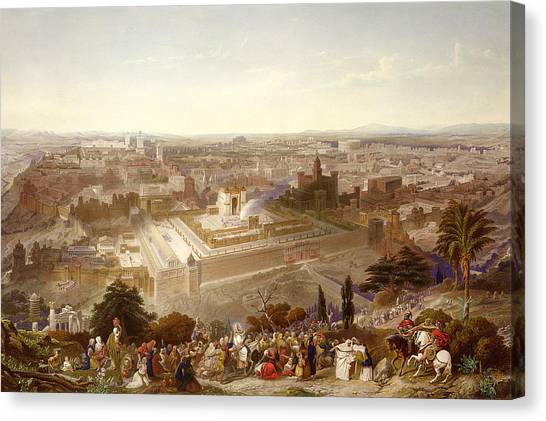 Israeli Canvas Print - Jerusalem In Her Grandeur by Henry Courtney Selous