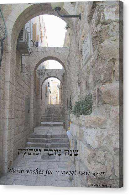 Canvas Print featuring the painting Jerusalem Street Scene For Rosh Hashanah by Linda Feinberg