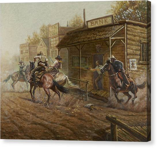Minnesota Wild Canvas Print - Jesse James Bank Robbery by Gregory Perillo