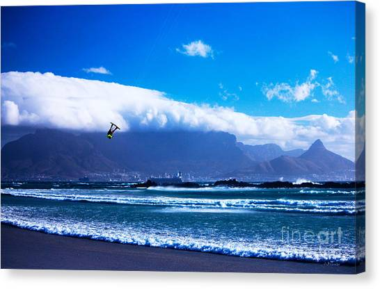 Jesse - Redbull King Of The Air Cape Town - Table Mountain  Canvas Print by Charl Bruwer