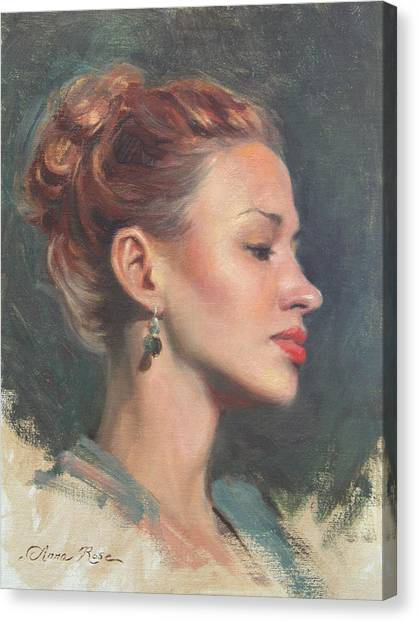 Redhead Canvas Print - Jessie In Profile by Anna Rose Bain