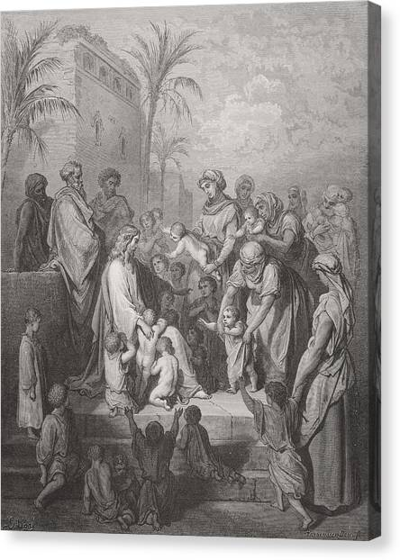 Holy Bible Canvas Print - Jesus Blessing The Children by Gustave Dore