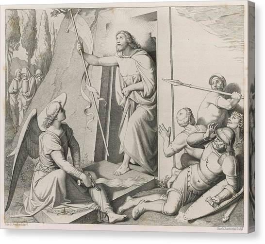 Resurrected Canvas Print - Jesus Emerges From The Tomb,  Whose by Mary Evans Picture Library