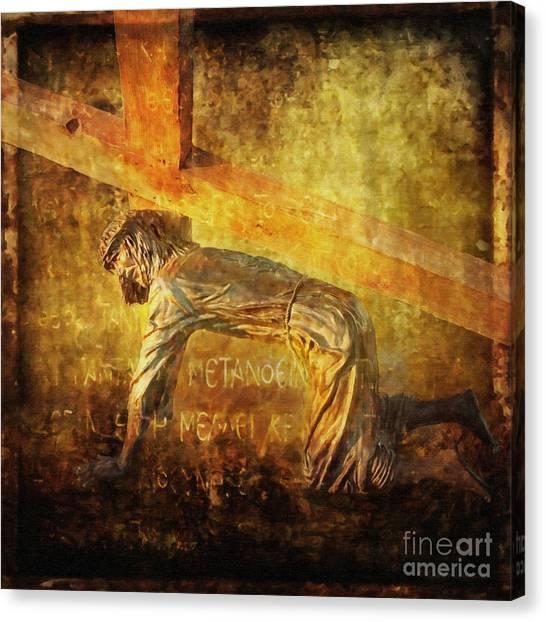 Jesus Falls Again Via Dolorosa 7 Canvas Print
