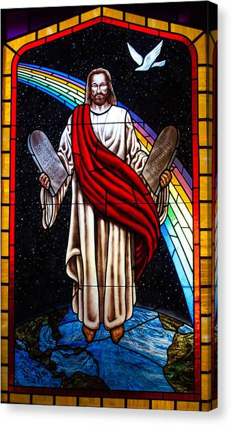 Jesus In Stain Glass Canvas Print