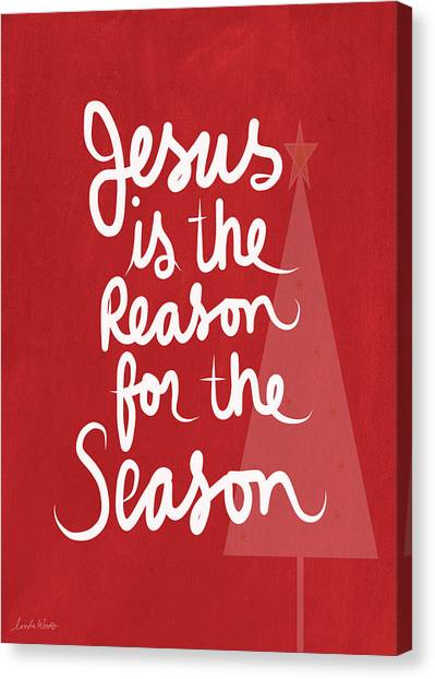 Christmas Tree Canvas Print - Jesus Is The Reason For The Season- Greeting Card by Linda Woods