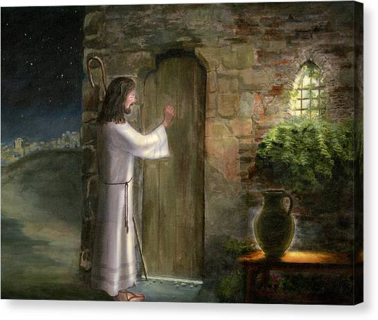 Bible Verses Canvas Print - Jesus Knocking On The Door by Cecilia Brendel