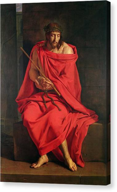 The Crown Canvas Print - Jesus Mocked Oil On Canvas by Philippe de Champaigne