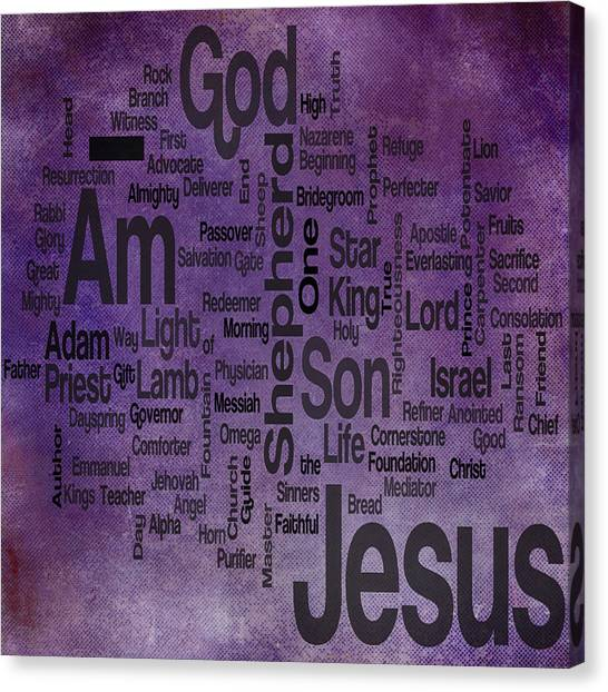 Messiah Canvas Print - Jesus Name 2 by Angelina Tamez