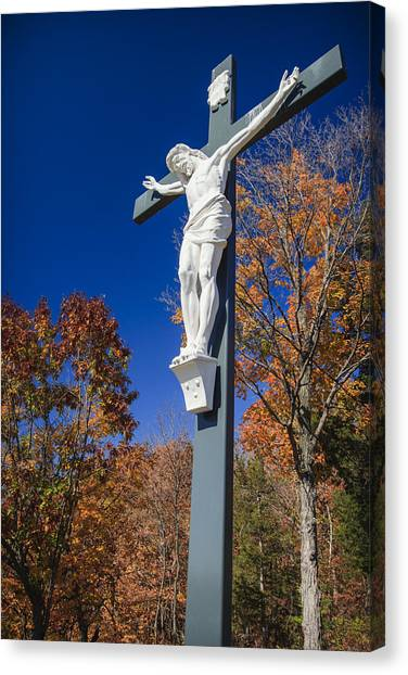 Angel Falls Canvas Print - Jesus On The Cross by Adam Romanowicz