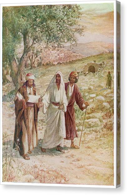 Resurrected Canvas Print - Jesus Proves His Identity  To Two by Mary Evans Picture Library