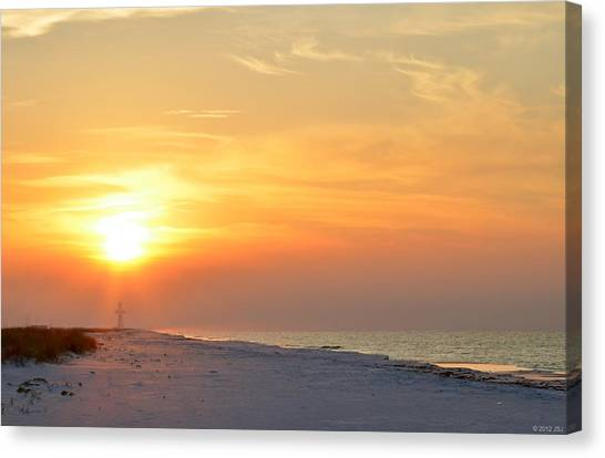 Jesus Rising On Easter Morning On Navarre Beach Canvas Print