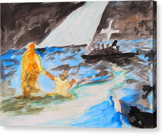 Jesus Saving Peter - Painting Canvas Print