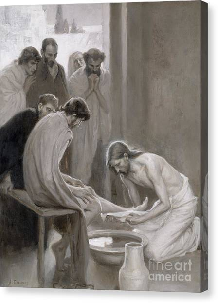 Biblical Canvas Print - Jesus Washing The Feet Of His Disciples by Albert Gustaf Aristides Edelfelt